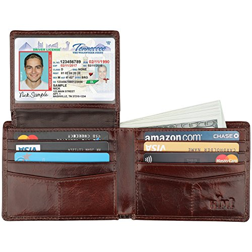 Wallet for Men-Genuine Leather RFID Blocking Bifold Stylish Wallet With 2 ID Window (Chocolate)