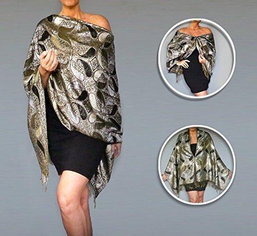 metallic-silver-shawl-black-evening-wrap-formal-wear-by-ziici