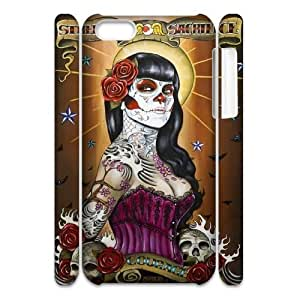 Cell phone 3D Bumper Plastic Case Of Sugar Skull For iPhone 5C