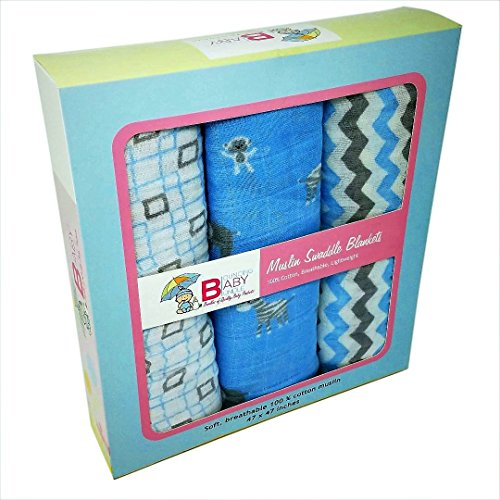 Swaddle Blankets - Set of 3 Super Soft Muslin 100% Cotton Receiving Blankets - By Bouncing Baby Bundle - Extra Large Boys Blue Classic Multi-use for Nursing Cover Stroller Cover - Chico's Policy Return