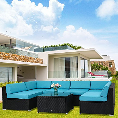 Kinbor 7 Pieces Garden Outdoor Patio Furniture PE Rattan Wicker Sofa Sectional Furniture Set Inclined Backrest, Blue (Garden Furniture Interest)