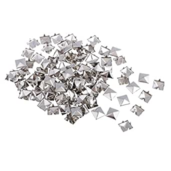 Dolity 100 pcs/pack Metal Square Pyramid Rivet Studs Nailhead Craft Spike for DIY Sewing Crafts 12mm - Silver