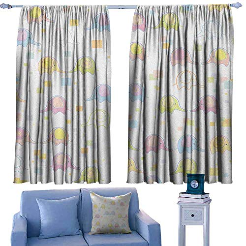 Nursery Bedroom windproofcurtain Cute Baby Elephants in Many Colors Pattern with an Abstract Squares Background Set of Two Panels 55