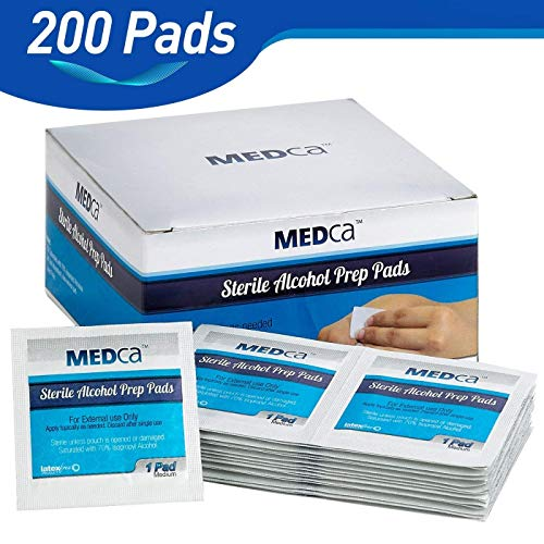 Non Woven Swabs - MEDca Alcohol Prep Pads, Sterile, Medium, 2-Ply Pack of 200