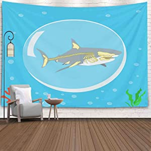 Gesmatic Wall Tapestry, 80X60 Inches Colorful Tapestry Tapestry Shark Icon Logo Symbol Skeleton Anatomy Tapestry Wall Art Wall Tapestry for Bedroom Tapestry