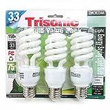 3 Pack Daylight Bulb Light 33 W Energy 150 Watt Output White Compact Fluorescent