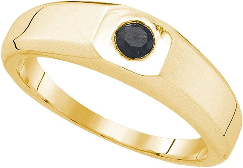 10k Yellow Gold Mens Black Colored Round Diamond Solitaire Wedding Anniversary Band Ring 1//3 Cttw