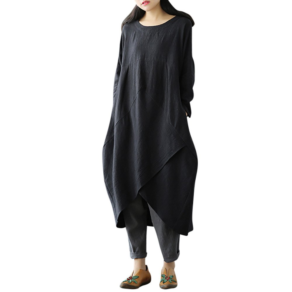 Plus Size Women Autumn and Winter Dress Vovotrade Women Vintage Round Neck Dress Long Sleeve Solid Dress Baggy Long Maxi Dress Size L-4XL by Vovotrade