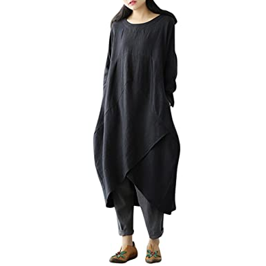 Maonet Women Bohemian Casual Loose Cotton Linen Dress Plus ...