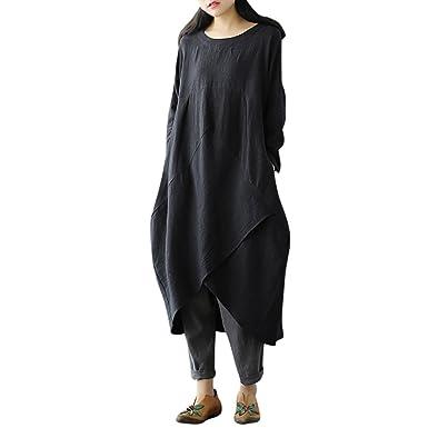 c8c17f56a97 Maonet Women Bohemian Casual Loose Cotton Linen Dress Plus Size Long Sleeve Maxi  Dresses (3XL