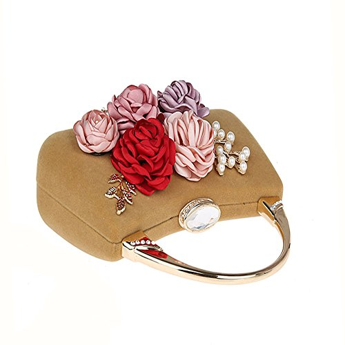 Apricot Bride Flower TOPCHANCES Evening Women Bags Satin 3D Handbags Clutches for Clutch Pearl Elegant Red Beaded Bags Wedding Purse Party Rhinestone Prom 114wqHC
