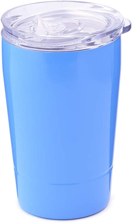 Double Wall Stainless Steel Silver, 12 Oz Colorful PoPo Kids Sippy Cup Insulated Tumbler with Lid