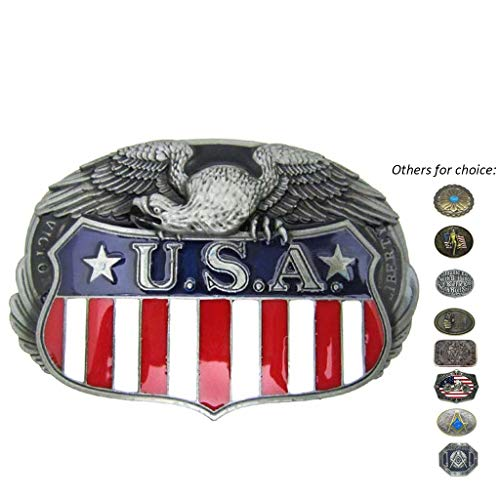 Flag Eagle Belt Buckle - Western Cool Eagle USA American Flag Belt Buckle Metal Cowboy Mens' Country Buckles for Belts