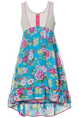 Truly Me, Big Girls' Sleeveless Empire Waist Floral Printed Maxi Dress with Ruffle Hem, Size 7-16 (Teal Floral, 14)