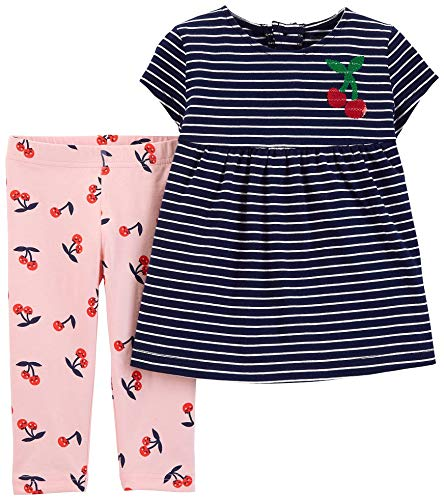 - Carter's Girls' 2-Piece Top and Capri Legging Sets (Navy/Pink/Cherry, 4T)