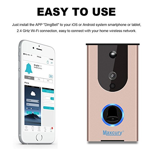 Door Viewer Smart Wi-Fi Video Doorbell in Rose Gold Waterproof IP65, iOS & Android APP, IR Night Vision, Cloud Storage, Support Tamper Alarm [CE FCC RoHS]Certification by MAXCURY (Image #2)
