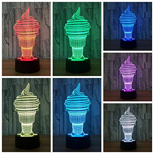 3D Night Light Desk Lamp Dimmable Touch & Remote Control Sweet Tube 7 Colors Light Battery Or USB Powered Boys Girl Toy Decor for Christmas Birthday Party Gifts Children Kids Bedroom -