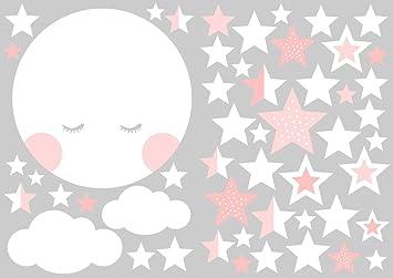 Mond und Sterne Rosa weiß Wandtattoo von Jabalou Wandaufkleber fürs ...