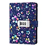JunShop Floral Loose Leaf Covers Password Lock Diary Composition Lock Journal Binder Planners (7.3×5.3 Inch) A6 PU Leather Locking Journal Diary (Multicolour Peach Blossom)