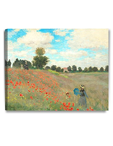 DecorArts - Poppies at Argenteuil, 1873, Claude Monet Art Reproduction. Giclee Canvas Prints Wall Art for Home Decor 30x24