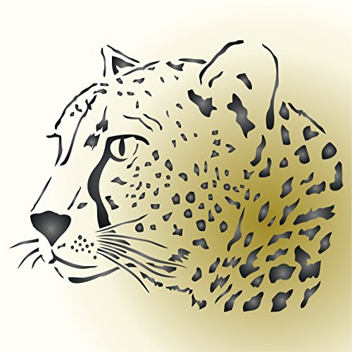Cheetah Head Stencil -- Reusable African Big Cat Animal  Stencils for Painting - Use on Paper