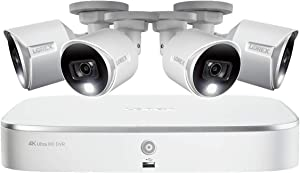 Lorex 4K HD Weatherproof Indoor/Outdoor Security System, 4 x 4K Ultra HD Bullet Cameras w/Advanced Motion Detection  Color Night Vision & Smart Home Compatibility - 2TB 8 Channel DVR (Renewed)
