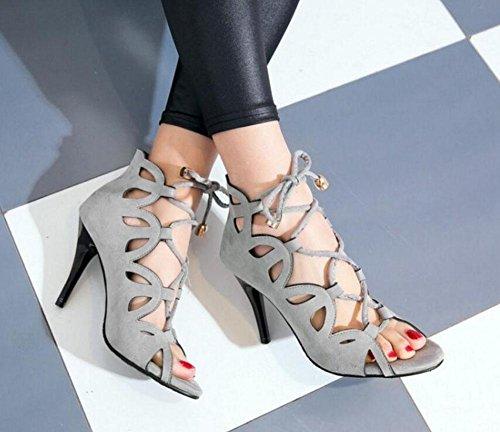 Grigio sandali Scarpette scavato Tacchi alti scarpe grey Pompe Nero Rosso Signore stringate 8c7W41B1q