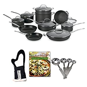 Cuisinart 66-17 Chef's Classic Nonstick Hard-Anodized 17-Piece Cookware Set + Farberware 4-Piece Wooden Tool Set + Oven Mitt + Cook Book