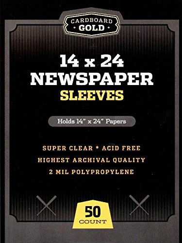 Archival Polypropylene Sleeves (50 CBG Newspaper Sleeves 14x24 - Archival Quality Protection for Your Collectibles)