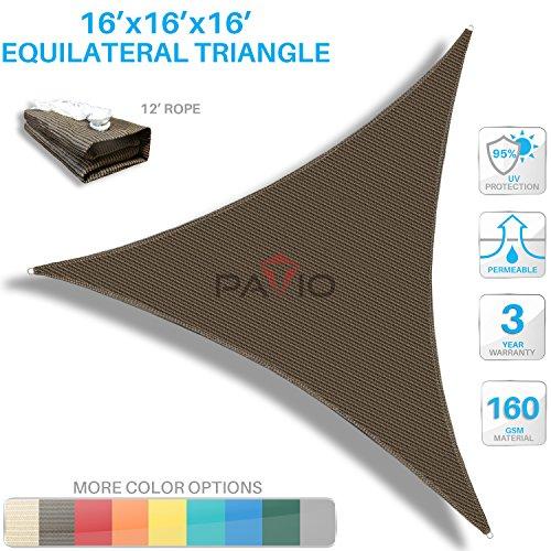 Patio Paradise 16' x16'x 16' Brown Sun Shade Sail Triangle Canopy - Permeable UV Block Fabric Durable Outdoor - Customized Available