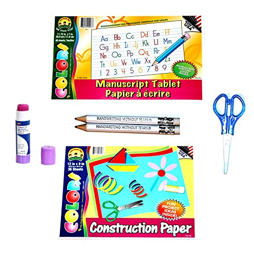 Handwriting Fine Motor Craft Kit 6 Piece Set, Construction Paper, Scissors, Glue Stick, 2 Mini-Pencils and Printing Tablet, Occupational Therapist Approved (Handwriting Kit)