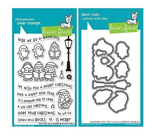 Lawn Fawn Here We Go A-Waddling Clear Stamp and Die Set - 2 Item Bundle by Lawn Fawn