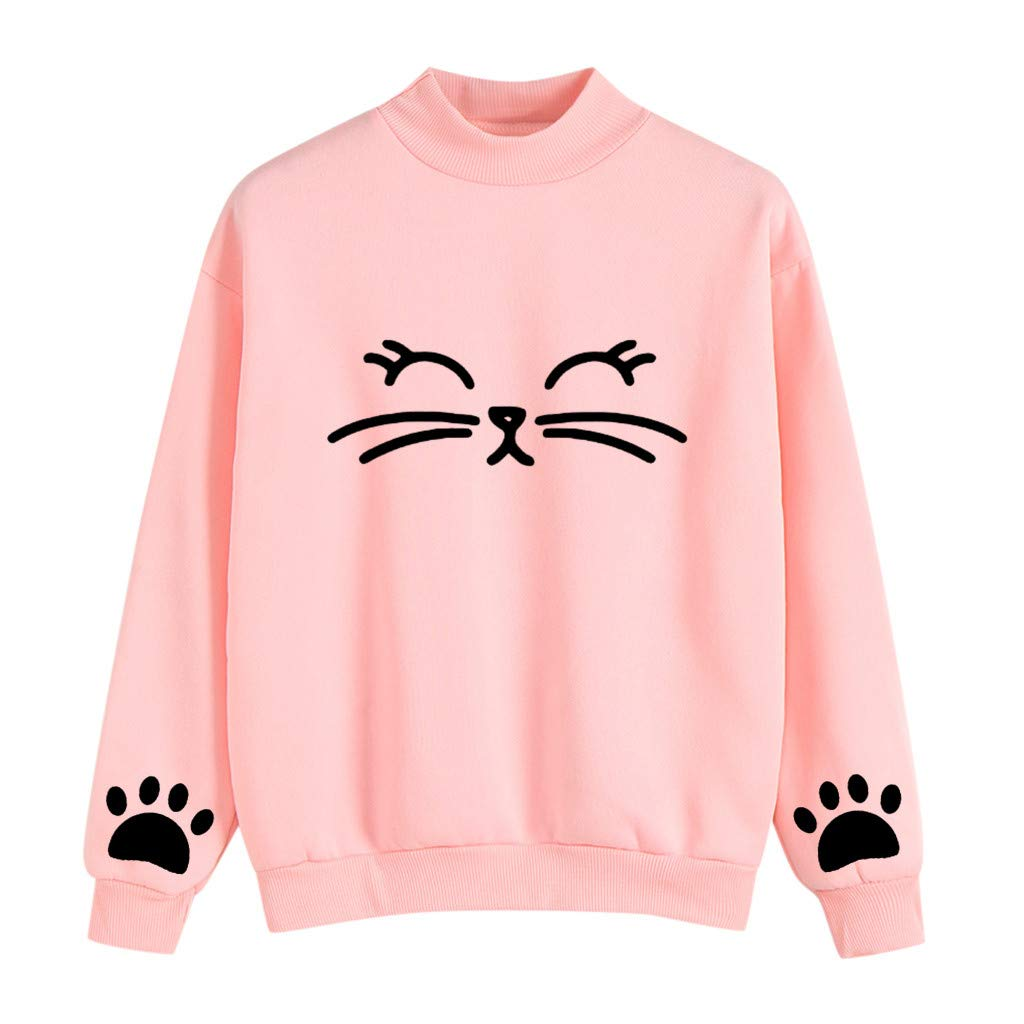 Hoodies Women Cowl Neck Long Sleeve Cat Print Pullover Hoodie Sweatshirts Tops with Kanga Pockets