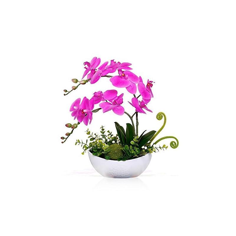 silk flower arrangements yiliyajia artificial orchid bonsai fake flowers with vase arrangement 5 head pu phalaenopsis bonsai for home table decor(white vase)