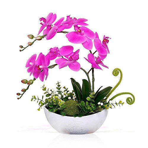 YILIYAJIA Artificial Orchid Bonsai Fake Flowers with Vase Arrangement 5 Head PU Phalaenopsis Bonsai for Home Table Decor(White Vase) - Flower Arrangements Orchids