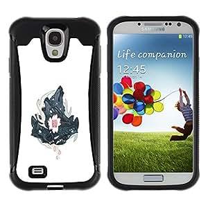 ZAKO CASES / Samsung Galaxy S4 I9500 / Three Wolves Wolf Crest / Robusto Prueba de choques Caso Billetera cubierta Shell Armor Funda Case Cover Slim Armor