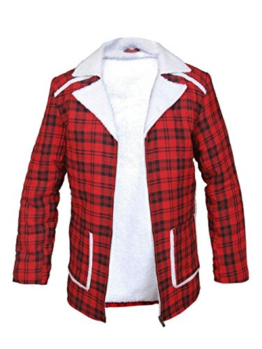 BillzDen Men's Reynolds Deadpool Ryan Red Cotton Flannel Shearling Jacket RED Large -