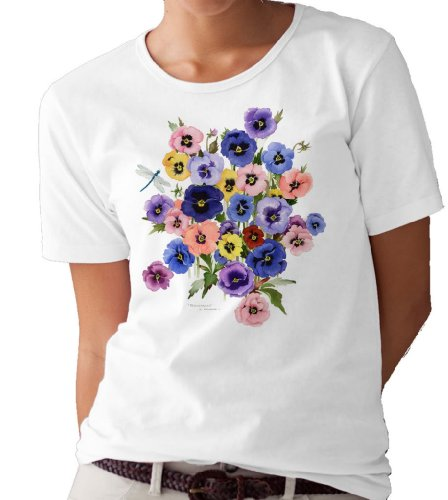 (Pansies and Dragonfly T-Shirt/tee by Valerie Pfeiffer - X-Large White)