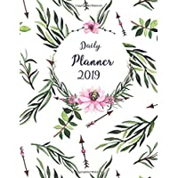Daily Planner 2019: Watercolor Floral Cover Design - One Page Per Day Diary 2019 with Also Yearly Calendars, Monthly Planner and Notes Pages - Time ... Goals, Tasks, Gratitude Section (Large Size)