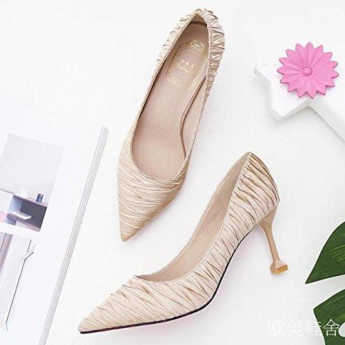 Chat Dors Chaussures Mode Trente Femme Kphy Talons D'or Et sept Chaussures Automne Chaussure De Banlieue 7 Sexy Cm pxYgAq