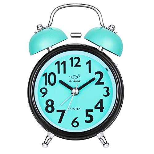 Alarm Clock for Heavy Sleepers, Silent Desk Bedside Travel Alarm Clock, Cute No Ticking Twin Bell Loud Alarm Analog Clock for Bedrooms (Blue) (Cow Clock Kids Alarm)
