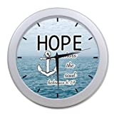 Custom Christian Bible Verse Hope anchors the soul Hebrew 6:19 Wall Clock