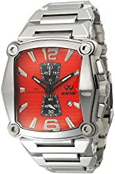 REACTOR Men's 57011 Nucleus Chronograph Bright Red Dial Stainless Steel Watch
