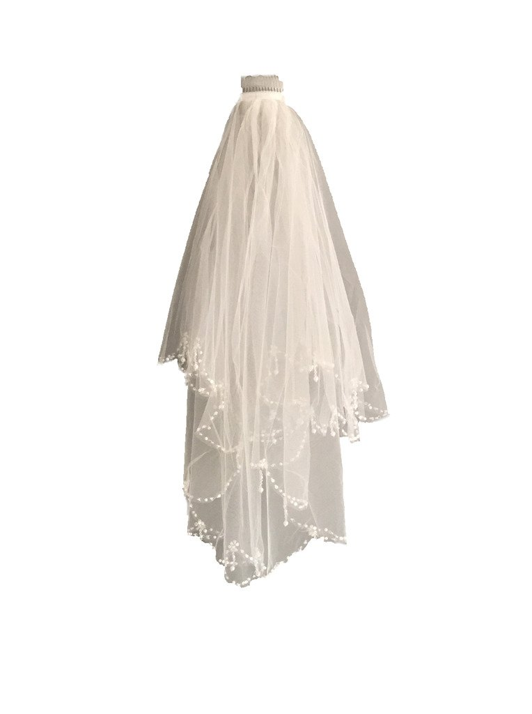 Skyfitting Women's 2 Tiers Beaded Edge Bridal Veil with Comb, Wedding Veil One Size Ivory