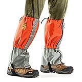 Waterproof Snow Gaiters Legging Cover Wraps For Hiking Walking Skiing - Grey + Orange (Pair)