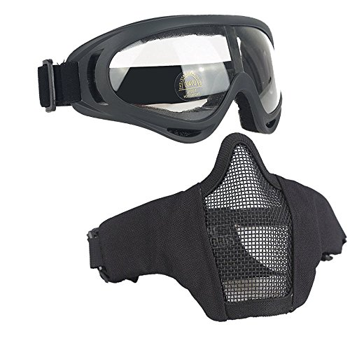 Infityle Airsoft Masks- Adjustable Half Metal Steel Mesh Face Mask And UV400 Goggles Set For Hunting, Paintball, Shooting (Type 2 Black, 1 Set)