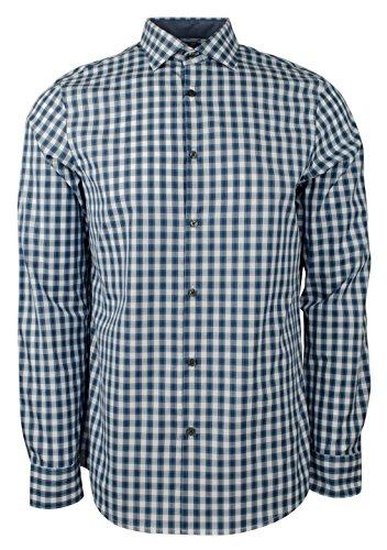 Michael Kors Men's Long Sleeve Plaid Striped Cotton Tailored Fit Shirt-PB-M by Michael Kors