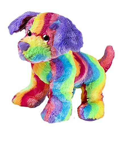 Cuddly Soft 16 inch Stuffed Rainbow Stripe Dog...We stuff