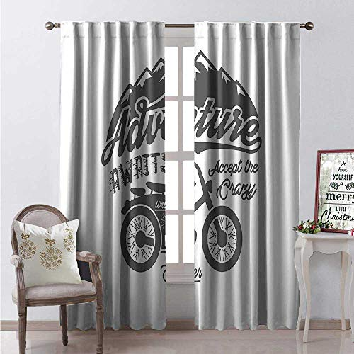(Hengshu Adventure Awaits Window Curtain Fabric Wild and Free Theme Greyscale Mountains and Motorcycle Wanderlust Drapes for Living Room W72 x L108 Grey White)