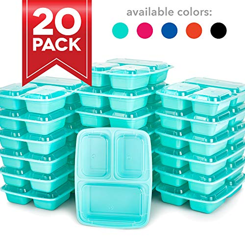 Dash DMPS203GBMT06 Reusable BPA Free Meal Prep Containers + Bento Box with 3 Compartment Plates & Lids for Food Storage or Healthy Portion Control Mint